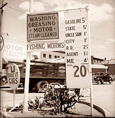 I love this old picture from 1938. It shows a sign in front of a Gas Station in Santa Fe, New Mexico. The sign shows Gas at 20 1/2 cents a gallon. The sign gives a breakdown on the cost, showing the various cost components leading to the price. At this price, they also came out and filled your car up, checked your oil and tire pressure, and washed your windshield.  Good old days!