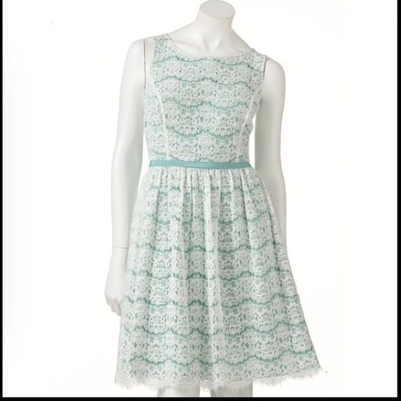 ELLE Mint & Ivory Lace Fit & Flare Tank Dress Semi Formal Cocktail Size 16 #ELLE #FitFlare #Cocktail #lacedress #romantic #datenight #valentinesday