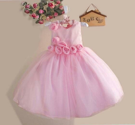 Dress zoe pink rose pink, sz 3-8tahun