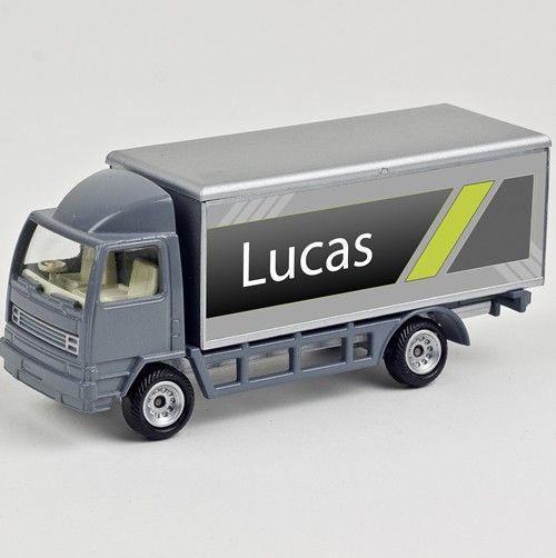 Kado tip: leuke, persoonlijke stoere grijze mini truck met naam of tekst type Lucas.