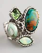 Yves Saint Laurent Four-Stone Arty Ring: Cool Rings, Four Ston Arti, Laurent Four Ston, Mixed Green, Statement Jewelry, Arti Rings, Neiman Marcus, Silver Rings, Yves Saint Laurent Christmas