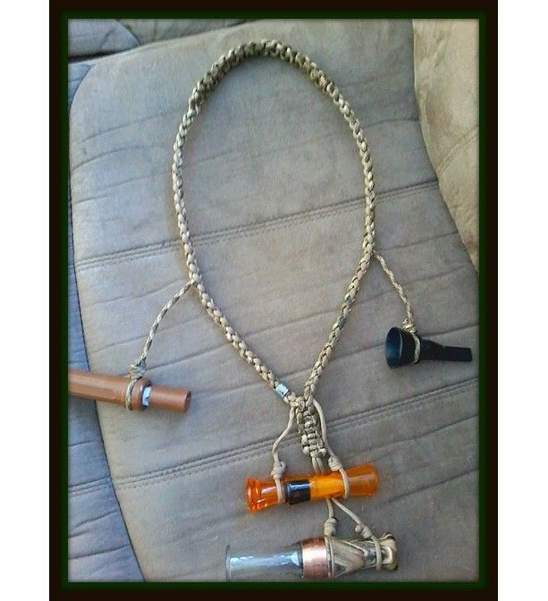 Custom Duck Call Lanyards. Gift idea for a hunter. Keep calls close at hand. Holds up to 6 calls. Light weight, durable, and rot-resistant. Handmade and made in America. Shop small. Gift guide. Gift for him. http://aftcra.com/GloriasKraftsUnthreaded/listing/6708/custom-duck-call-lanyards #shopsmall