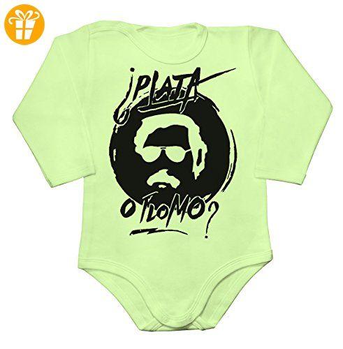 Pablo Escobar PLATA O PLOMO? Baby Long Sleeve Romper Bodysuit Large - Baby bodys baby einteiler baby stampler (*Partner-Link)