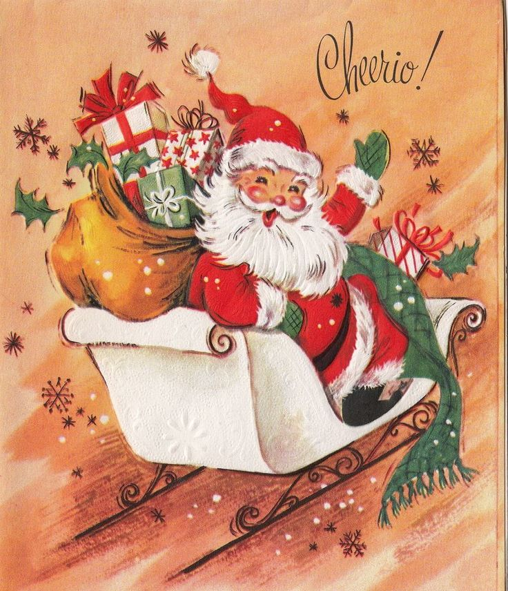 Vintage Greeting Card Christmas Santa Claus Sleigh Cheerio! v197: