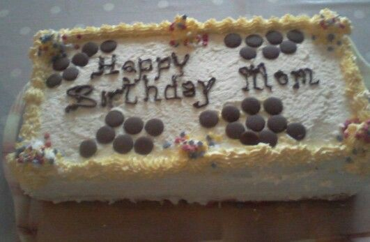 Birthday cake with choc buttons