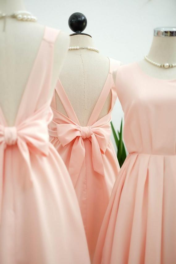 Rosa erröten Kleid Rosa Brautjungfer Kleid Hochzeit Prom Kleid Cocktail Party Kleid Abendkleid rückenfreie Schleife Kleid   – Products