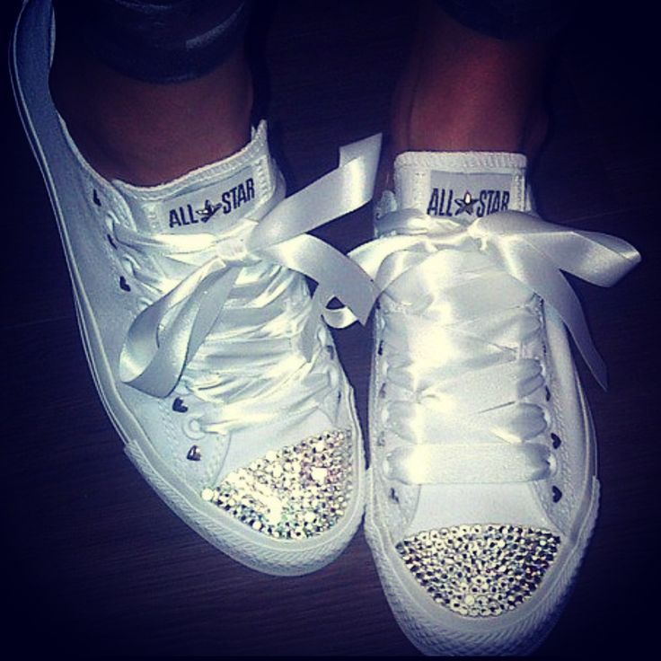 White leather Swarovski converse