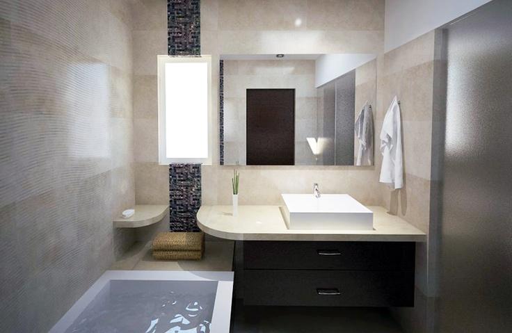 """Render de cuarto de baño para residencia en el fraccionamiento """"puerta plata""""."""