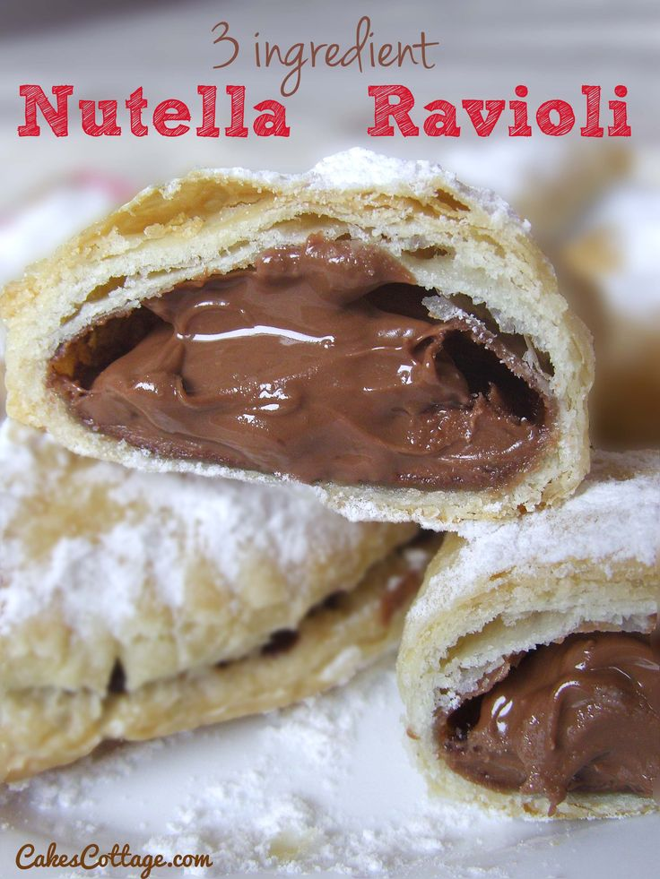 Three Ingredient Nutella Ravioli - 3 main ingredient delicious, crispy, chocolate-y, Nutella ravioli. #nationalravioliday #ravioli #food #recipes #pasta #yourhomemagazine