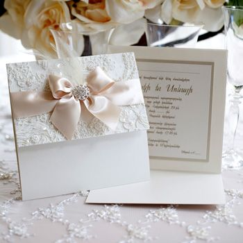 Simple yet elegant custom invitations. A gorgeous combination of lace & satin with a beautiful center jewel. It's all in the details! Pandora Invitations | Creative Works Designs