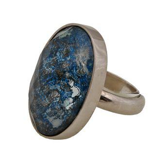 Handmade jewelry, platinum plated silver ring 925o with quartz and sodalite - Χειροποίητο κόσμημα, ασημένιο δαχτυλίδι με χαλαζία και σοδαλίτη 18 x 25 mm.