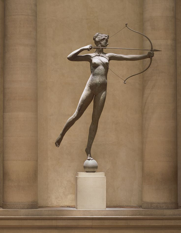 """philamuseum: this sculpture of Diana once served as a weathervane for the second Madison Square Garden building in New York City.It was the highest point in the city at the time. Find out the fascinating story behind Augustus Saint-Gaudens's Diana during our Spotlight gallery conversations this Thursday, Friday, and Saturday at 11 a.m.""""Diana,"""" 1892-93, Augustus Saint-Gaudens"""