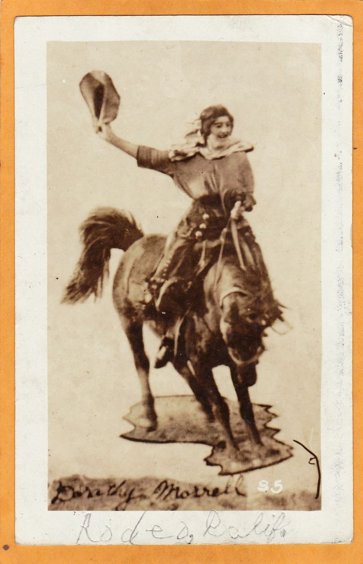 Real Photo Postcard RPPC Rodeo Cowgirl Dorothy Morrell Bronc Rider | eBay