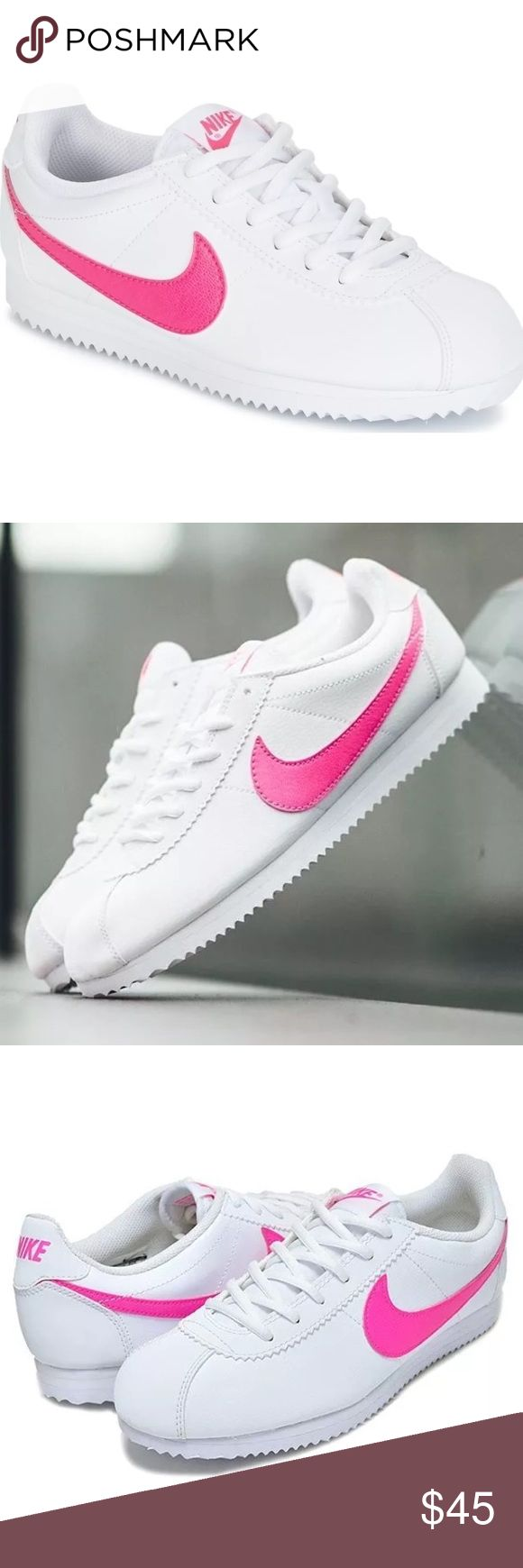 Nike classic Cortez leather white pink size 8.5 Brand new without box. Shoes are a size 7 youth which converts into a women's size 8.5. I have added a size chart for reference. 100% authentic. Ships same day or very next. Nike Shoes Sneakers