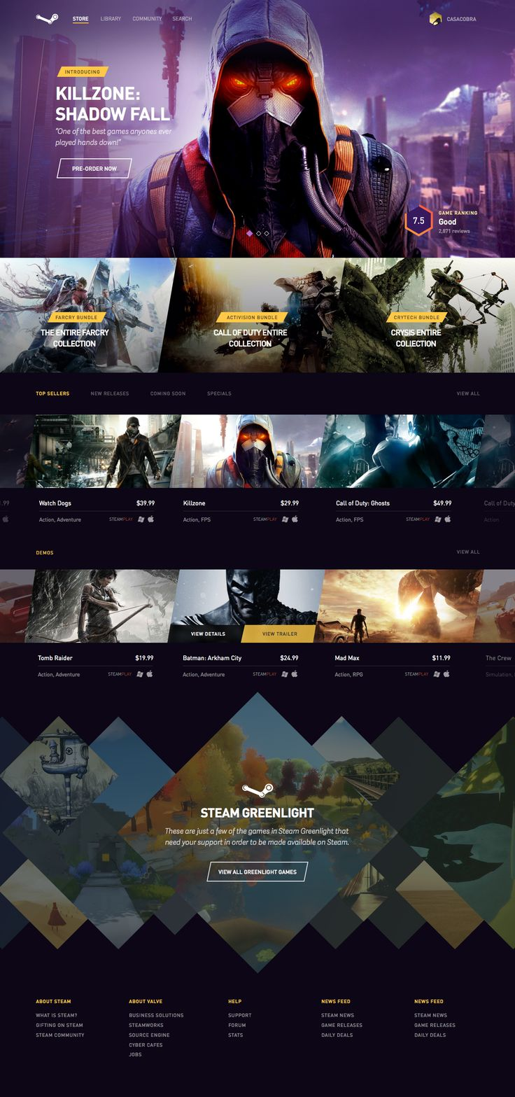 Steam redesign by Aaron Sananes via Dribbble