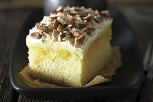 Luscious Tropical Dream Cake recipe (yellow cake mix, crushed pineapple, lemon pudding, cool whip)
