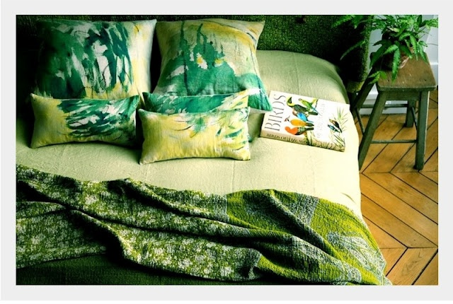Green bohemian bedroom