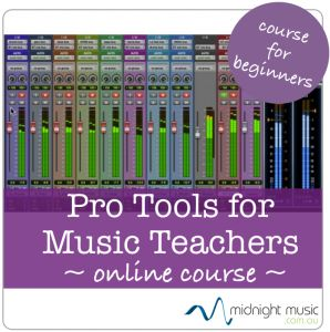 "Pro Tools Online Course for Music Teachers:  Live courses take place throughout the year (everything is recorded so you can watch sessions anytime).  ""Replay Passes"" also available for past courses  when no live course is scheduled.   http://www.midnightmusic.com.au/pro-tools-for-music-teachers-online-course/"