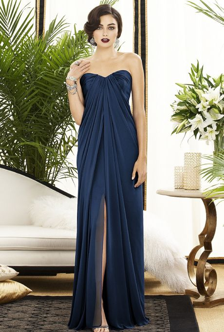 Brides: Dessy. Style 2879, strapless lux chiffon bridesmaid dress in midnight with a sweetheart neckline and front slit, $264, Dessy available at Weddington Way
