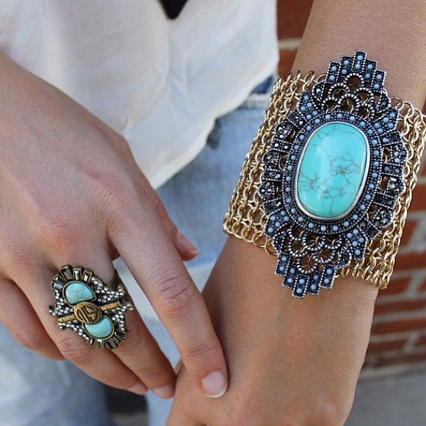 SAMANTHA WILLS - Turquoise Perfection; Jewelry Cuff Bohemian Luxe Ring Statement