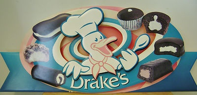 Hostess Drake's Store Sign Funny Bones Yodels Coffee Cake Devil Dogs Ring Dings on sale!