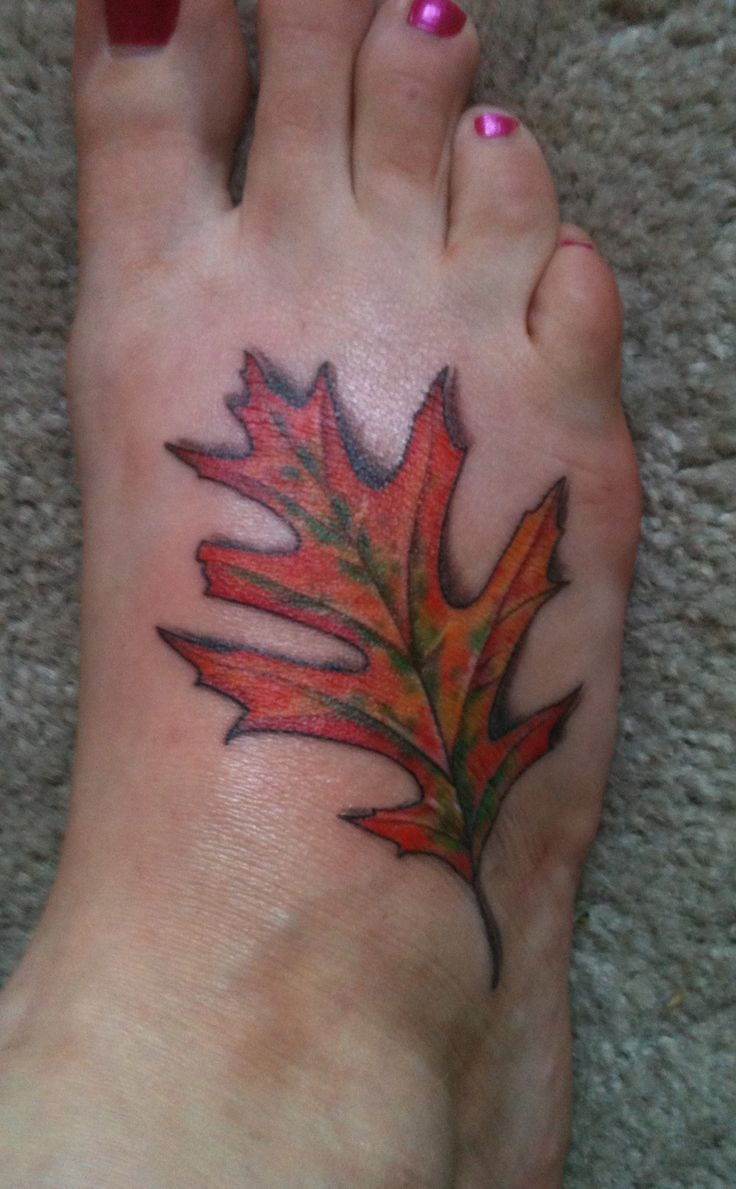 My red oak leaf #tattoo #leaf | Tats & Piercings ...