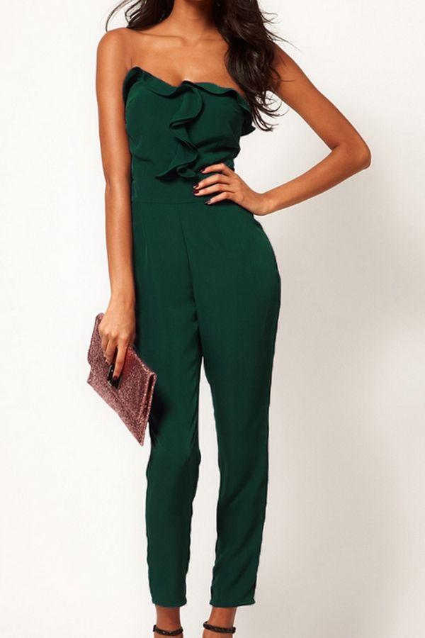 Street-chic Frill Bandeau Jumpsuit - OASAP.com #green #fashion #women #free shipping