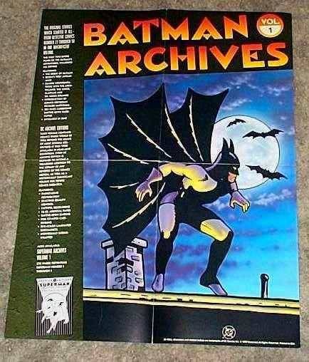 Rare vintage original 1990 Batman Archives 22 x 17 inch DC Detective Comics Dark Knight promotional promo poster pin-up with art by Bob Kane