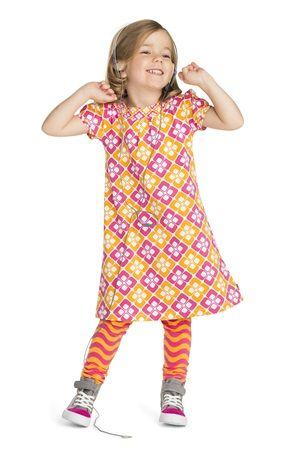 Kids dresses and tunics | me&i  squares dress  Short-sleeved all-over print dress in squares pattern. Smaller patterned print to neck and cuffs – looks so cool!