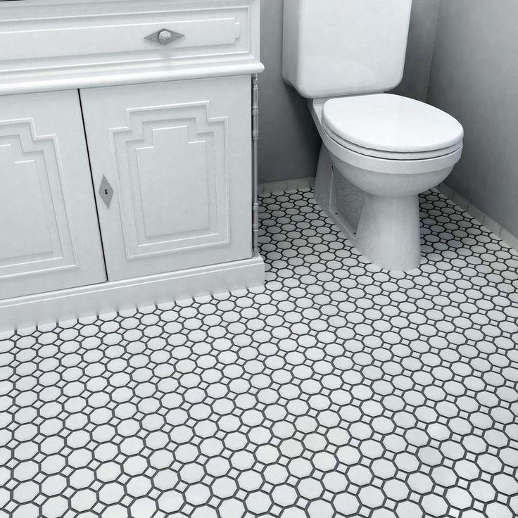 Merola Tile Metro Octagon Matte White With Dot 11 1/2 In