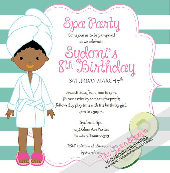 1671 best images about Spa Party Ideas and Activities – Little Girl Spa Party Invitations