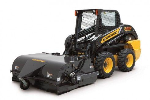 new holland skid steer attachments l220 skid steer loader with pick up broom cnh media. Black Bedroom Furniture Sets. Home Design Ideas