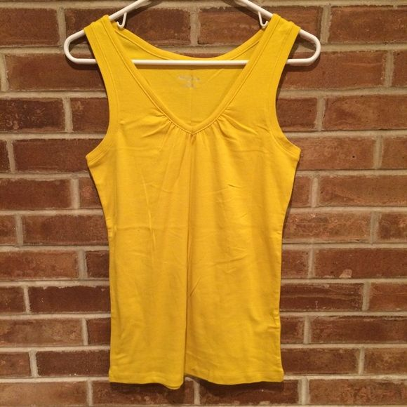 Merona yellow tank top Great tank for a pop or peek of color under a sweater or jacket. Merona yellow tank top, size medium. Never been worn, but tags removed. Merona Tops Tank Tops