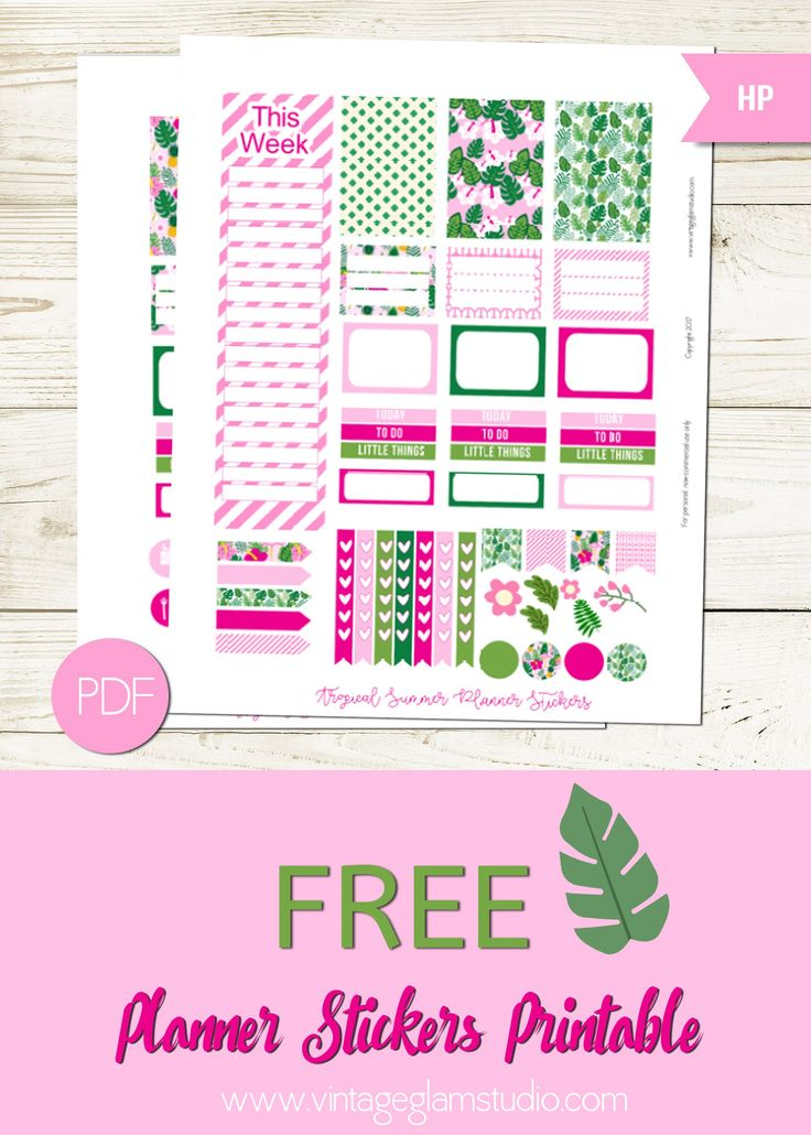 Free Printable Tropical Summer Planner Stickers from Vintage Glam Studio