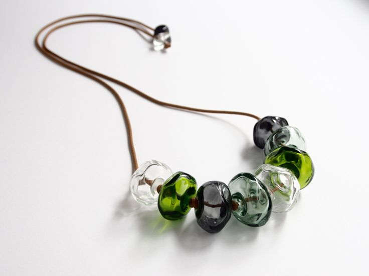 Avril Bowie - glass beaded necklace in green and grey - all hand crafted glass