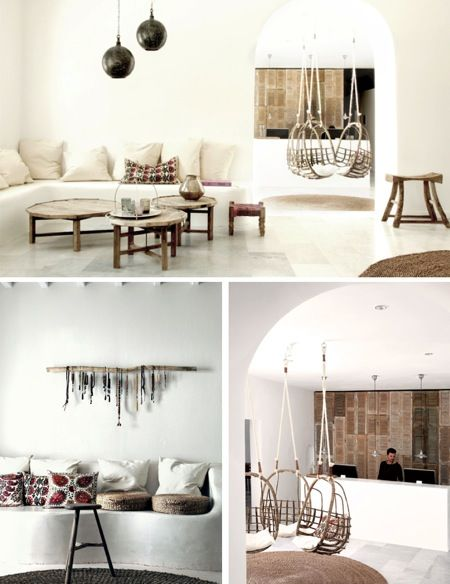 natural modern interiors: Eclectic Natural Style :: San Giorgio Hotel, Mykonos, Greece