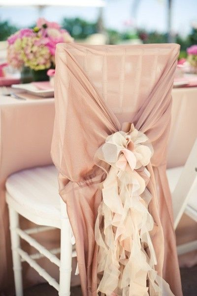 2014 champagne beach wedding chair decor, chiffon wedding chair decor.