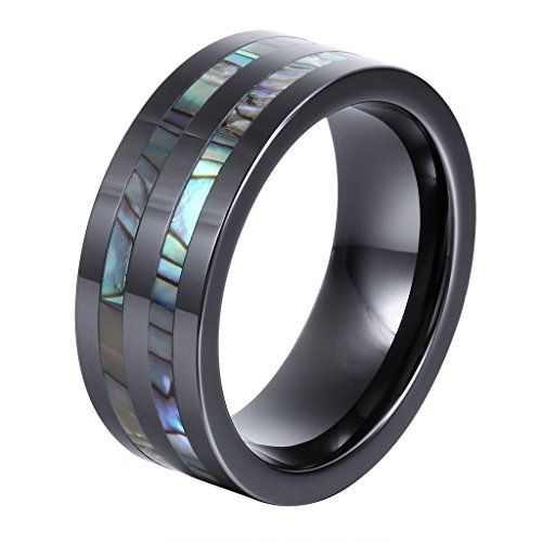 L-Ring 8MM Black Ceramic Men's Wedding Engagement Ring with Abalone Shell Inlay Comfort Fit,Size 6-14 - http://jewelry-and-watches.wegetmore.com/l-ring-8mm-black-ceramic-mens-wedding-engagement-ring-with-abalone-shell-inlay-comfort-fitsize-6-14/