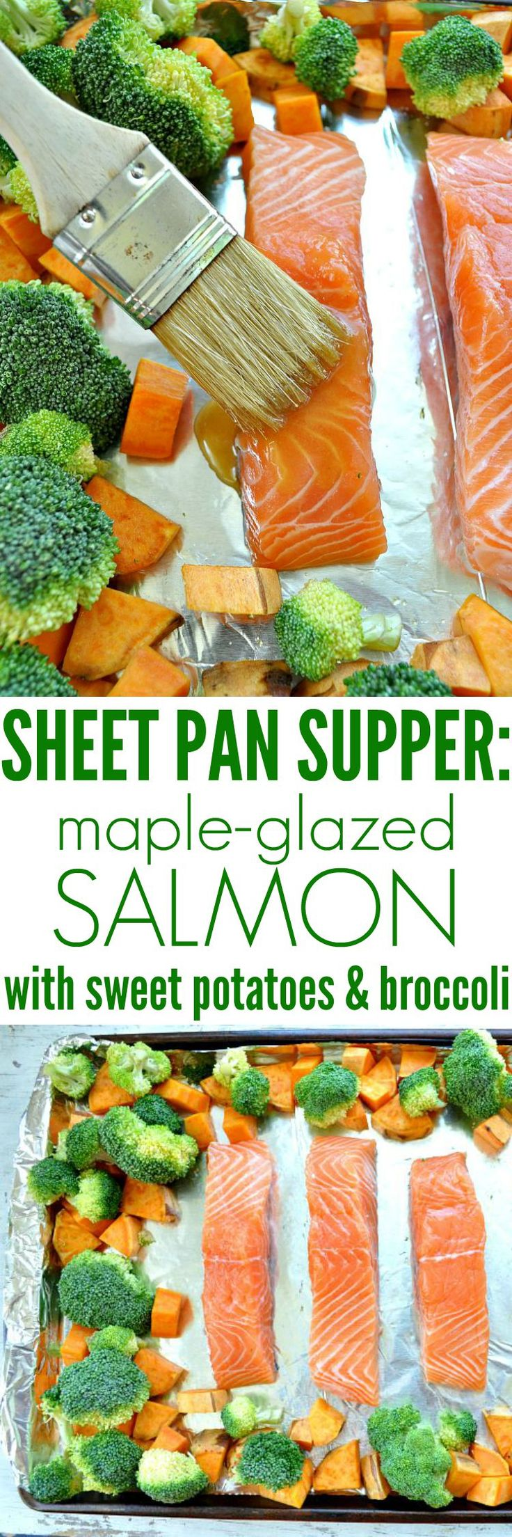 With this easy Sheet Pan Supper, the Maple-Glazed Salmon cooks on the same tray as the sweet potatoes and broccoli for a healthy and FAST dinner! It's clean eating, dairy-free, and gluten-free too!