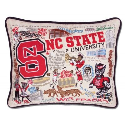 NC STATE UNIVERSITY COLLEGIATE EMBROIDERED PILLOW