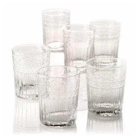 Wasserglas-Set, 6-tlg., Blätterrankenverzierung Vorderansicht