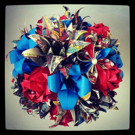 Origami Paper Bouquet Flower Spiderman Marvel Comic Book Wedding Alternative Bride Red Blue