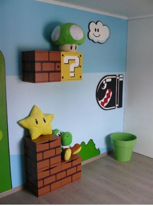 Fantastic kid's room or video game room. Super Mario themed.