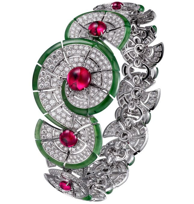 VOGUE Cartier Royal,  Bracelet in white gold with diamonds, rubies and jade