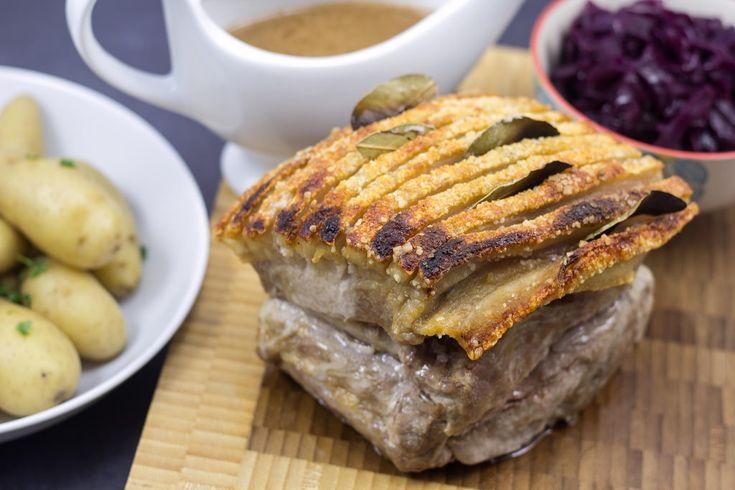 Recipe for homemade Danish Pork Roast with Crisp Rind (flæskesteg)