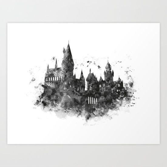 #harrypotter #hogwarts #watercolor #blackandwhite