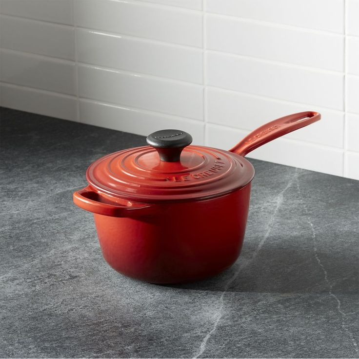 Le Creuset ® Signature 1.75 qt. Cerise Red Saucepan with Lid - Crate and Barrel