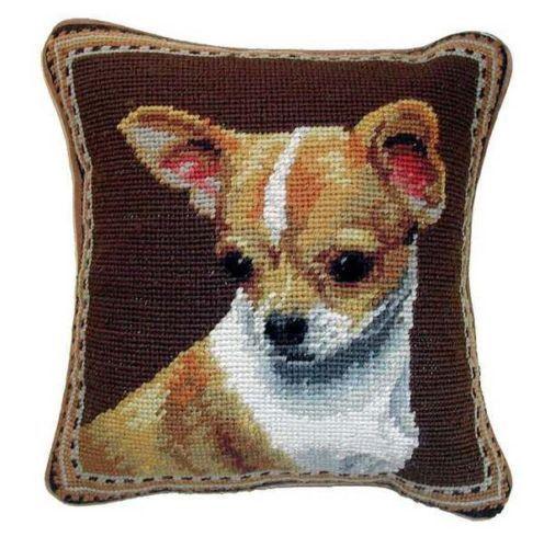 "Tan & White Chihuahua Dog Portrait - 10"" Needlepoint Dog Pillow"