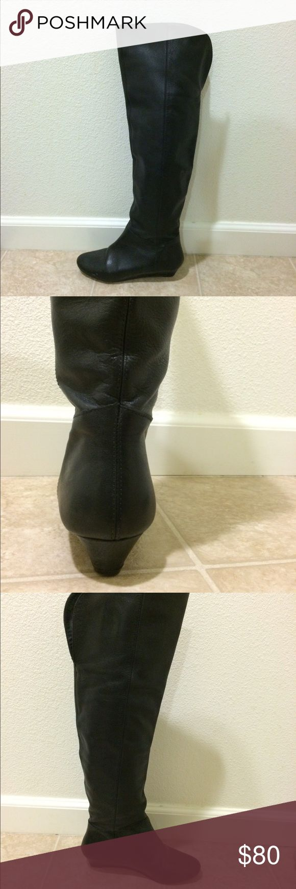 Steve Madden leather knee high boots Used black leather boots. In good condition. Wedge heel. You can fold the top down for a different look. No cracks, no holes, no tears, minimal scuff. Just needs a little TLC. Size 5.5M Steve Madden Shoes