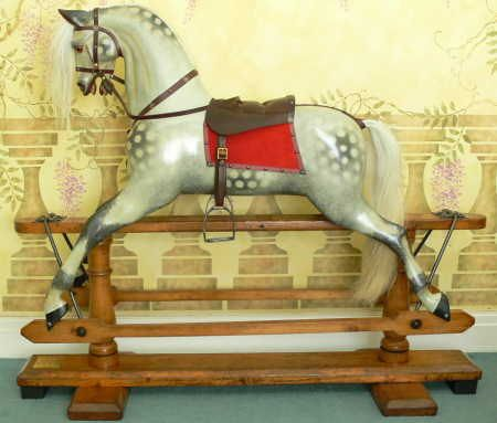 Large Ayres Victorian rocking horse restored by Classic Rocking Horses